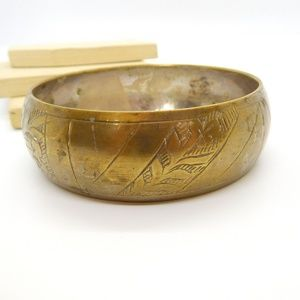 Vintage Floral Etched Brass Wide Bangle Bracelet